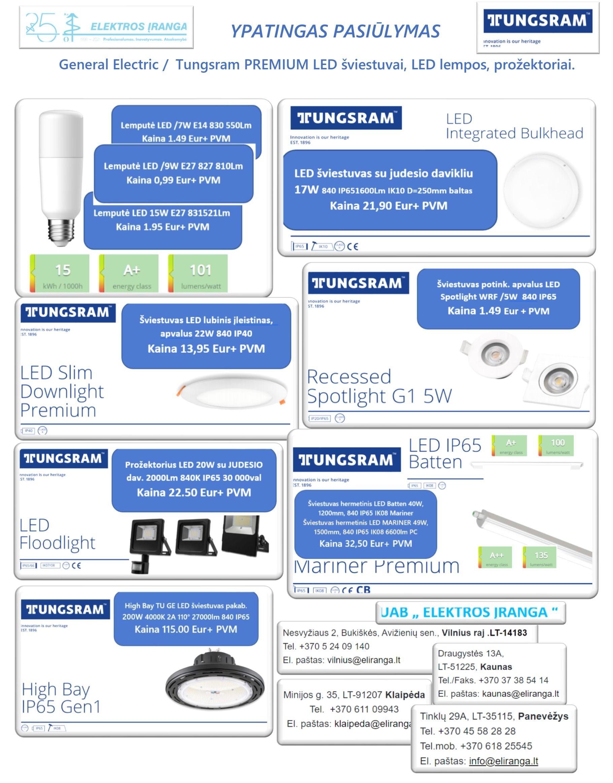 General Electric /  Tungsram PREMIUM LED šviestuvai, LED lempos, prožektoriai.